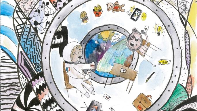 """Dessin coup de cœur du concours """"Imagine ta vie dans un vaisseau spatial !"""" de Lucie C"""
